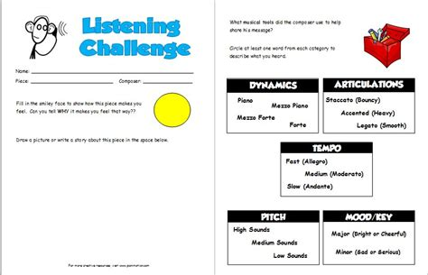 Listening Worksheets by Listening Challenge Worksheets Pianimation