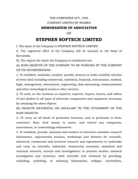 templates for articles of association 7 best images of memorandum of association template