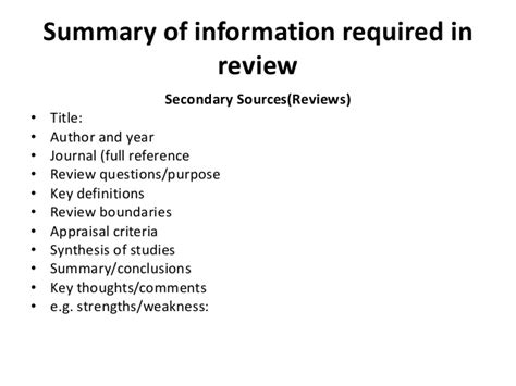 Research Synopsis In Literature by The Literature Review