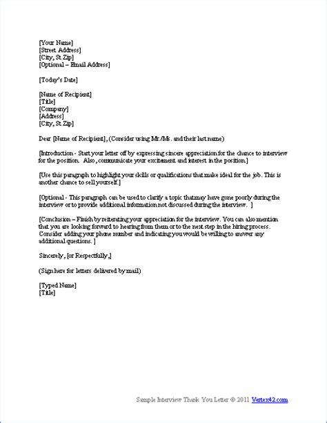 free interview thank you letter template sles