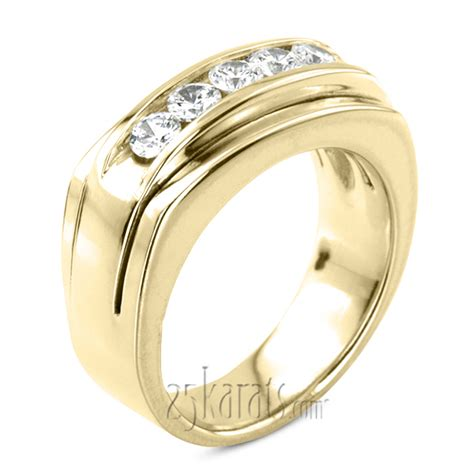 ct  stone channel set diamond mens ring