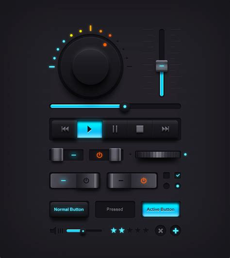 editor gui layout button dark music ui elements psd graphicsfuel