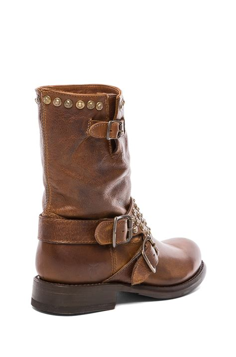 frye studded boots frye studded boot in brown cognac lyst
