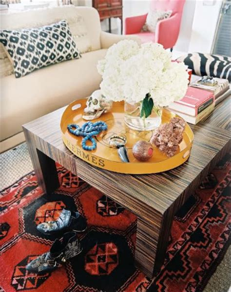 emily henderson coffee table tres chic trays