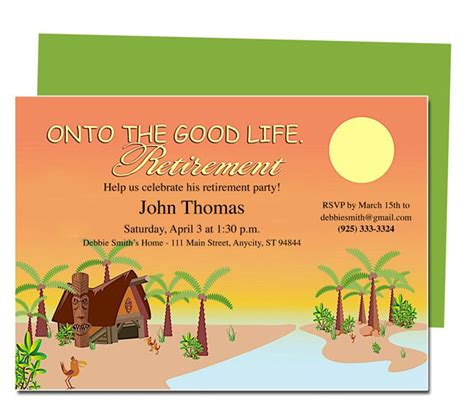 word templates for retirement invitations retirement templates tropicana on to the good life