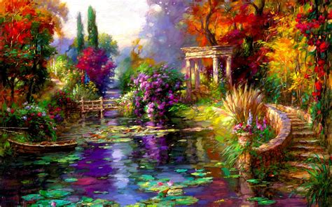 pretty flower gardens pretty garden pond boat steps wallpapers pretty garden