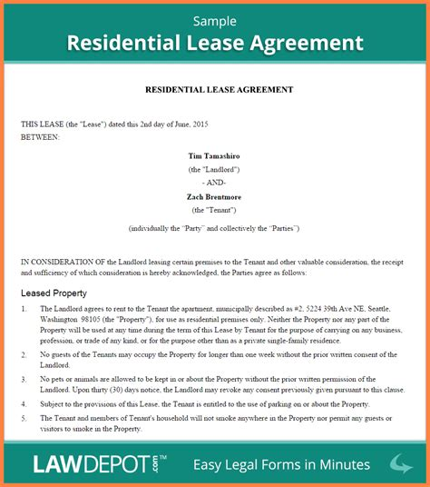 6 rental lease agreement ontario template purchase