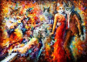 cat club palette knife oil painting on canvas by leonid