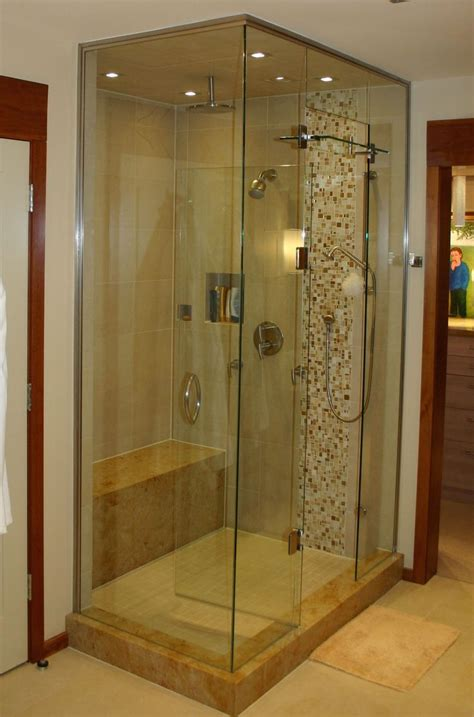 built in shower benches custom built shower with glass enclosure pebble tile