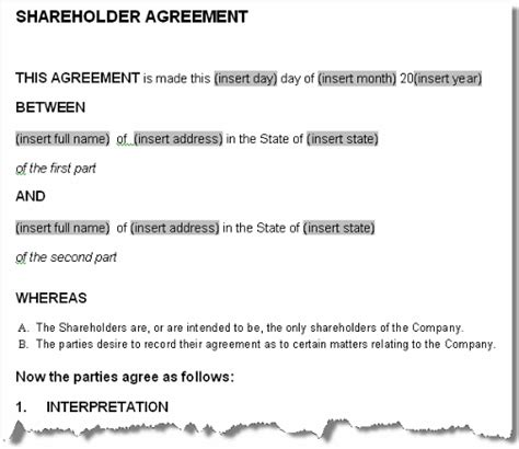 simple shareholder agreement template shareholders agreement contract form