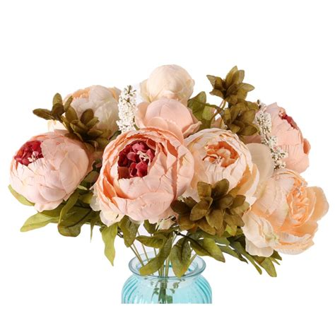 fake flowers for home decor artificial fake silk flowers leaf peony floral wedding