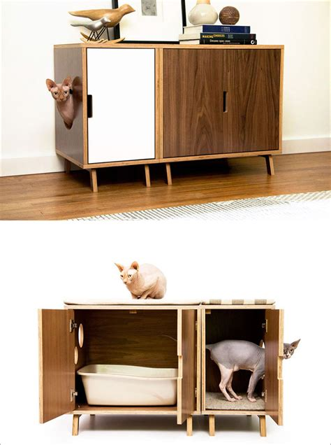 modern litter box cabinet contemporist these mid century modern inspired cabinets