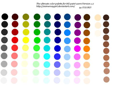 ms paint 94 color palette by animeroxygirl on deviantart