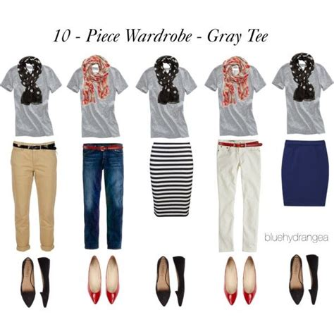 10 piece wardrobe outfits quot 10 piece wardrobe gray tee quot by bluehydrangea on