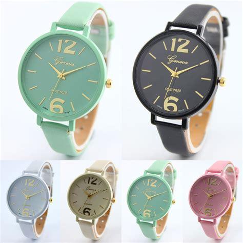 Jam Tangan Geneva Quartz jam tangan quartz geneva analog vogue wanita warna permen