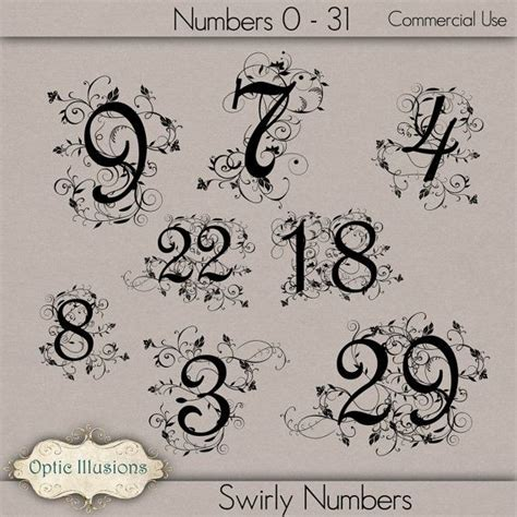 tattoo fonts commercial use instant swirly fancy numbers commercial use