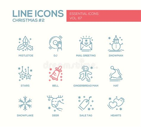 new year greetings mail and new year simple line design icons set