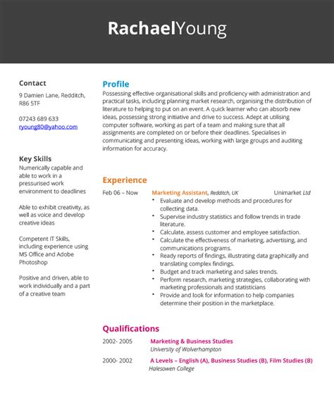 cv marketing template free sle resume marketing assistant