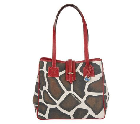 Catherine Rapettis Large Printed Tote In Girrafe by Dooney Bourke Giraffe Print Leather Trim Tote With Card