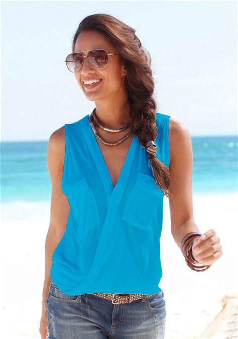 Vintage Blouse Tunik Atasan Baju Wanita Tunic Bluss Blus Putih Polos baju pantai wanita sleeveless v neck shirt size l