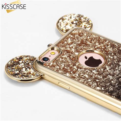 Mickey Bling Back Cover For Iphone 6 Plus 6s Plus kisscase lovely 3d mickey mouse ears for iphone 7plus 7 6s plus bling glitter silicone