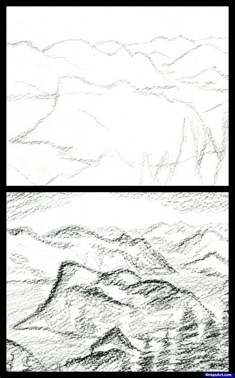 how to draw landscapes draw a realistic landscape draw realistic mountains step by step drawing sheets added by