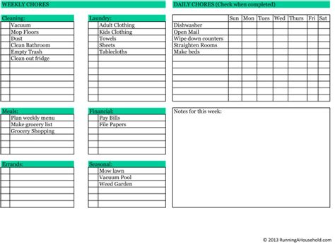 printable house maintenance list Archives   Running A
