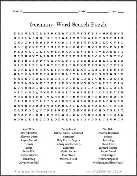 Germany Search Germany Word Search Puzzle Student Handouts