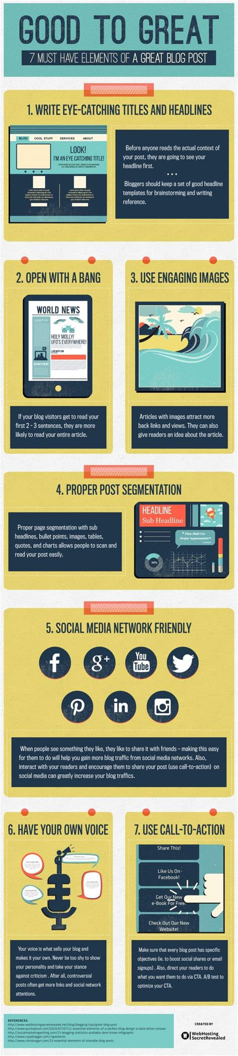 7 Great Blogs by 7 Must Elements Of A Great Post Infographic