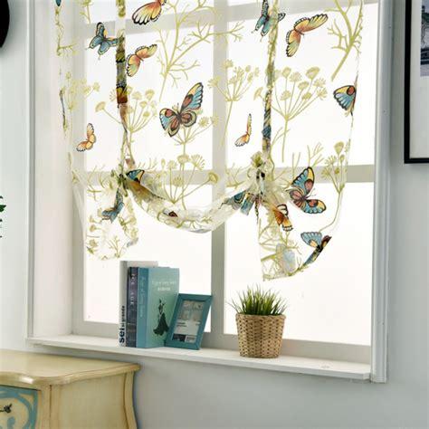 bathroom voile rod liftable kitchen bathroom window roman curtain floral