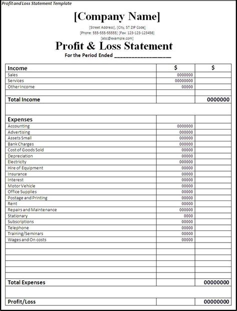profit and loss template free statement templates