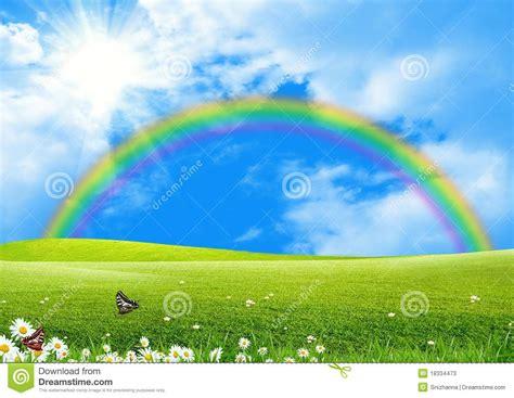 Rainbow Green rainbow a green glade stock illustration image of