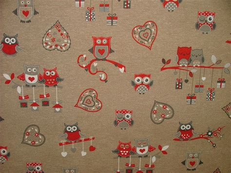 owl upholstery fabric red and natural linen look owl designer fabric curtain