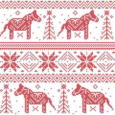 nordic christmas pattern vector nordic christmas pattern with stars snowflakes horses in