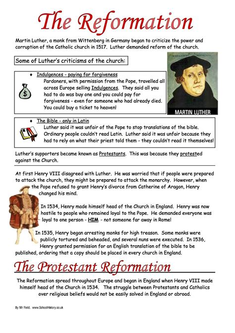 reformation worksheets ks3 ks4 lesson