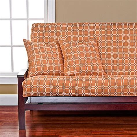 futon covers bed bath and beyond siscovers 174 mandarin futon cover in orange white bed bath