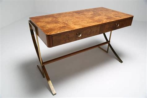 Desk With No Legs by Hickory White Burl Wood Desk With Brass Legs At 1stdibs