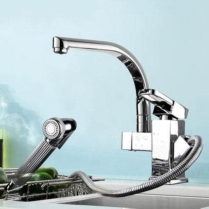 bathroom faucet with pull out sprayer kitchen sink mixer faucet pull out sprayer tap bathroom double spouts 360 degree