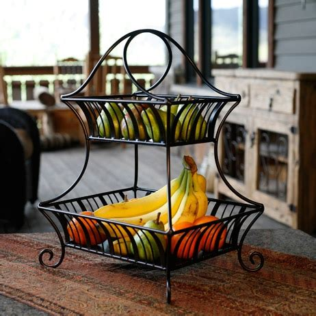 Tiered Fruit Stand Kitchen by Delaware 2 Tier Basket Black With Brushed Copper Finish