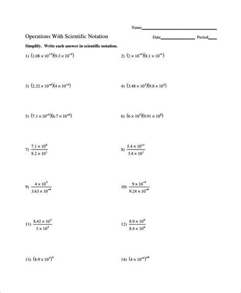Scientific Notation Practice Worksheet by Sle Scientific Notation Worksheet 9 Free Documents