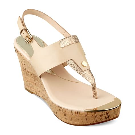 guess magli platform wedge sandals in beige