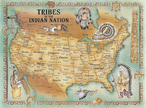 united states map of native american tribes tribes of america postcard