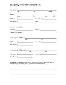 emergency contact form template 5 best images of printable emergency contact form template