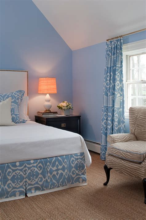 pastel blue bedroom ethnic print in light blue interiors by color