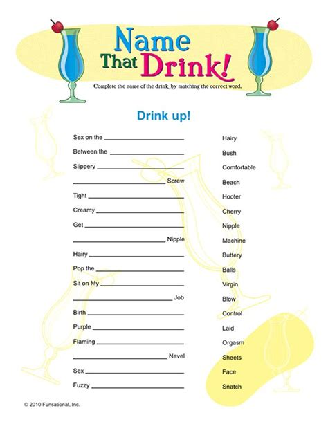 drink names name that drink on it s a bash