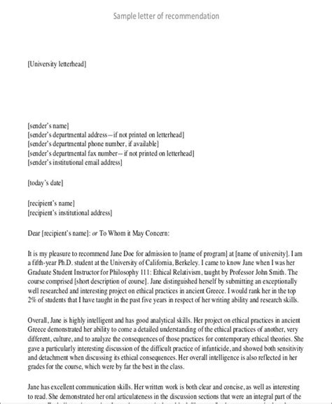 Student Recommendation Template by 8 Student Letter Templates 8 Free Sle Exle