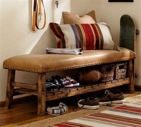 pottery barn benches caden leather bench pottery barn