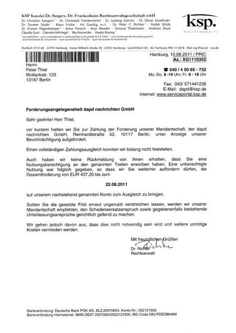 Mahnung Muster Rechtsanwalt ksp kanzlei dr seegers dr frankenheim
