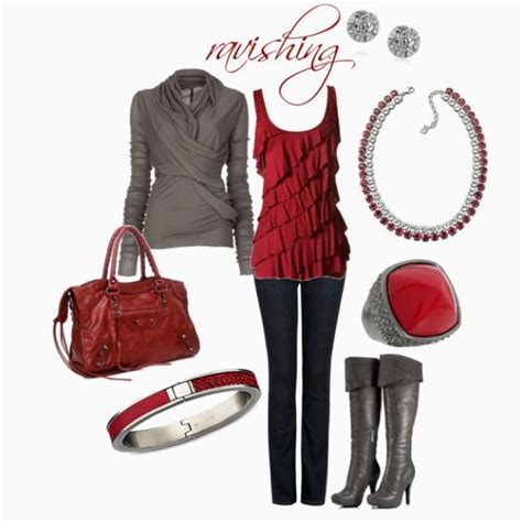 Red bag cinza red gray way to dress up denim fashionable outfits for