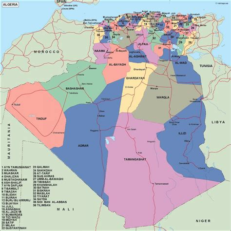 map of algeria cities algeria political map vector eps maps eps illustrator